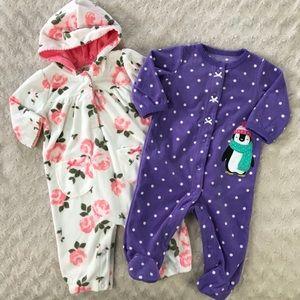 Carter's Baby Girl Fleece Outfits Penguin Floral